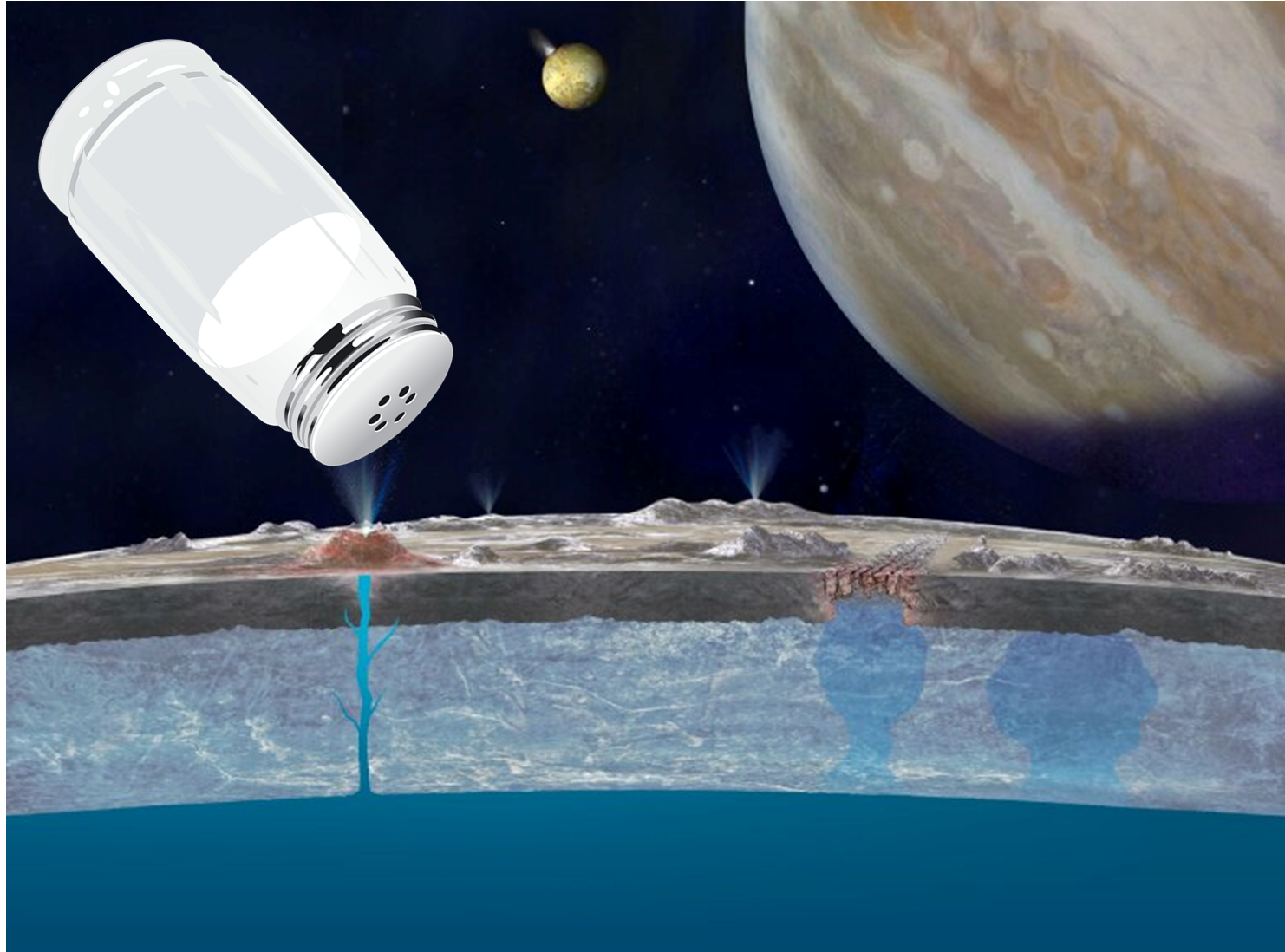 What is essentially table salt has been discovered on the surface of Jupiter's moon Europa. Image Credit: NASA