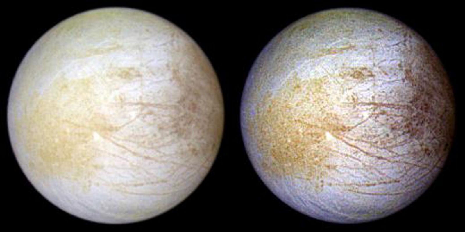 The Galileo spacecraft helped produce this image of Europa. While the picture on the left shows the natural colors of the moon, the one on the right highlights the yellow regions where the salt was discovered (in the Tara Regio region). Image Credit: NASA/JPL/University of Arizona