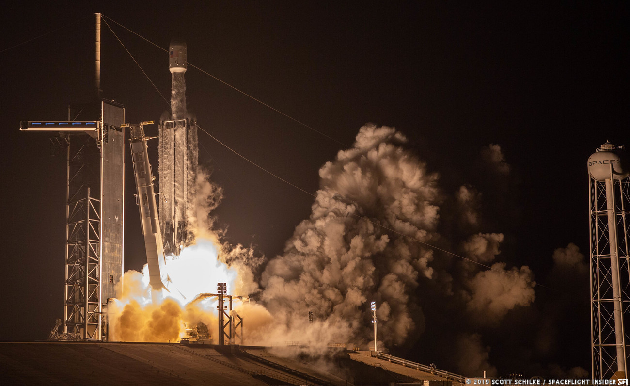 The STP-2 Falcon Heavy rocket launches from Kennedy Space Center's Launch Complex 39A on June 25, 2019. Photo Credit: Scott Schilke / SpaceFlight Insider