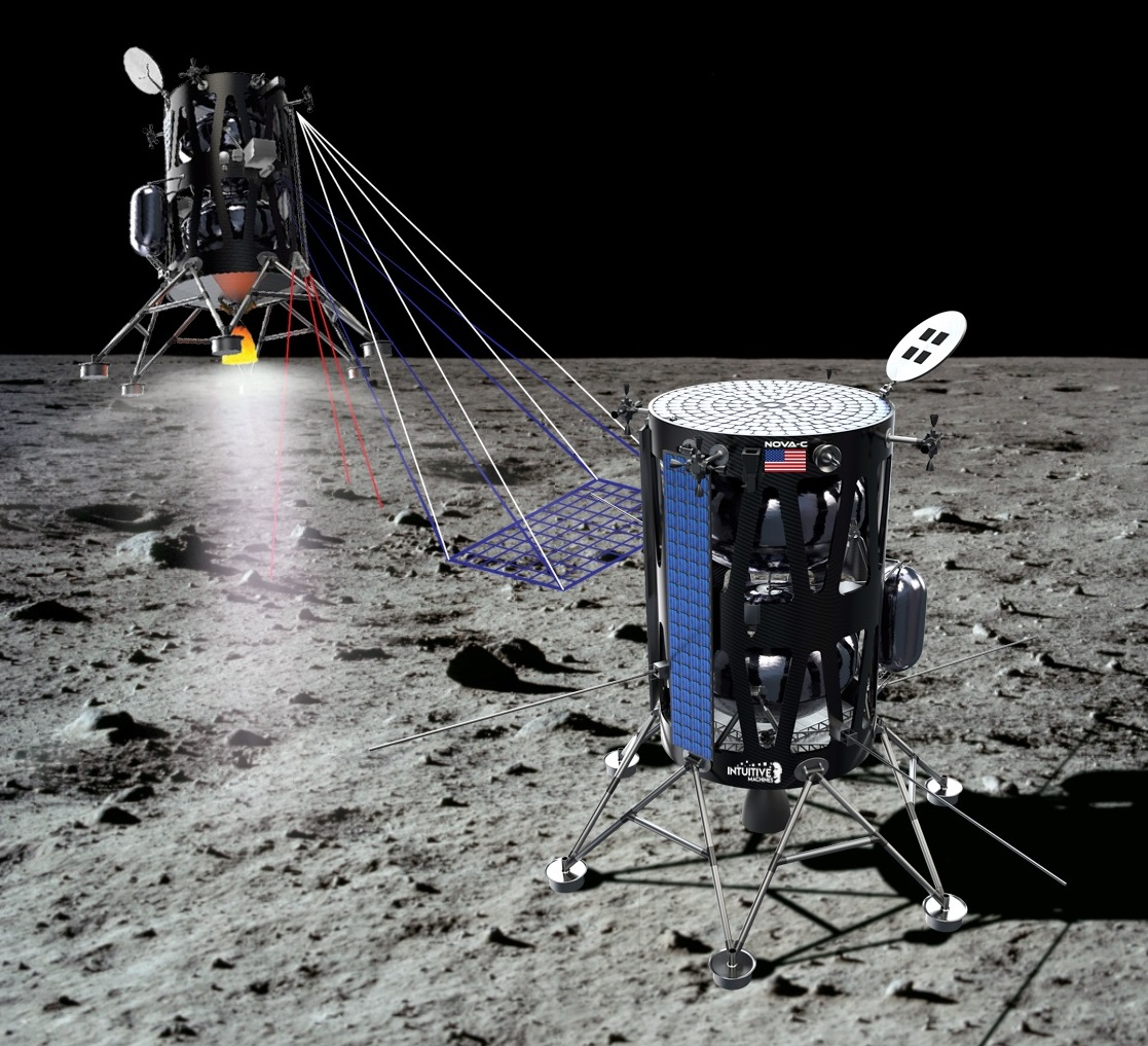 A rendering of the lander Intuitive Machines hopes to fly to the Moon's surface by 2021. Image Credit: Intuitive Machines