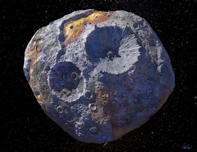 Artist's depiction of asteroid Psyche. Image Credit: Maxar/ASU/P. Rubin/NASA/JPL-Caltech