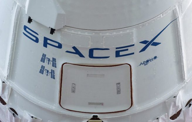 The CRS-18 Cargo Dragon bore the logo of the Apollo 11 50th Anniversary which was commemorated on July 24. Photo Credit: NASA / SpaceX