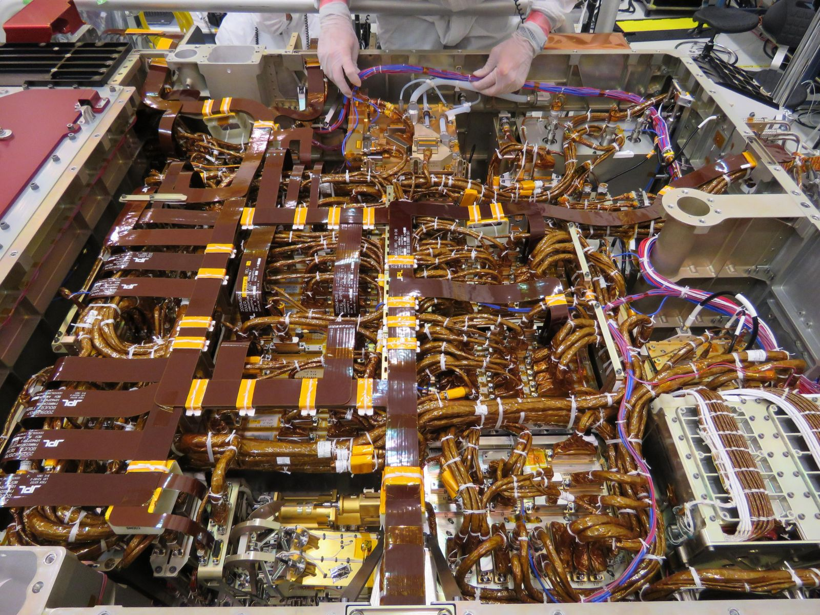 This image shows the interior of the Mars 2020 rover. It was taken on June 1, 2019, during its construction in NASA's Jet Propulsion Laboratory's Spacecraft Assembly Facility's High Bay 1: Photo Credit: NASA/JPL-Caltech