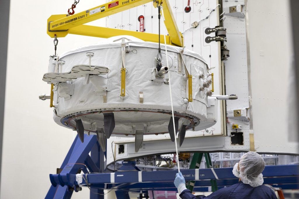 IDA-3 being prepared for launch inside CRS-18 Dragon's trunk section. Photo Credit: NASA
