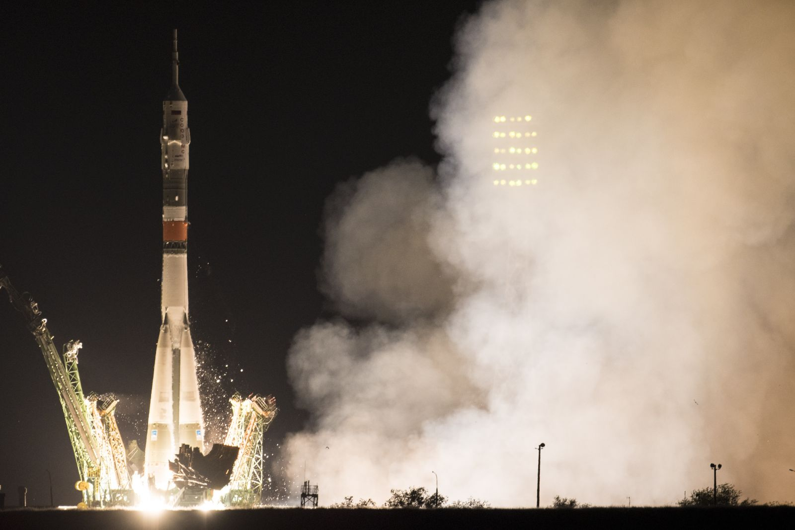 Expedition 60's Soyuz Commander Alexander Skvortsov (Roscosmos), flight engineer Drew Morgan (NASA), and flight engineer Luca Parmitano (ESA) lift off from the Baikonur Cosmodrone's Launch Complex 1 in Kazakhstan on Saturday, July 20, 2019. Photo Credit: Joel Kowsky / NASA