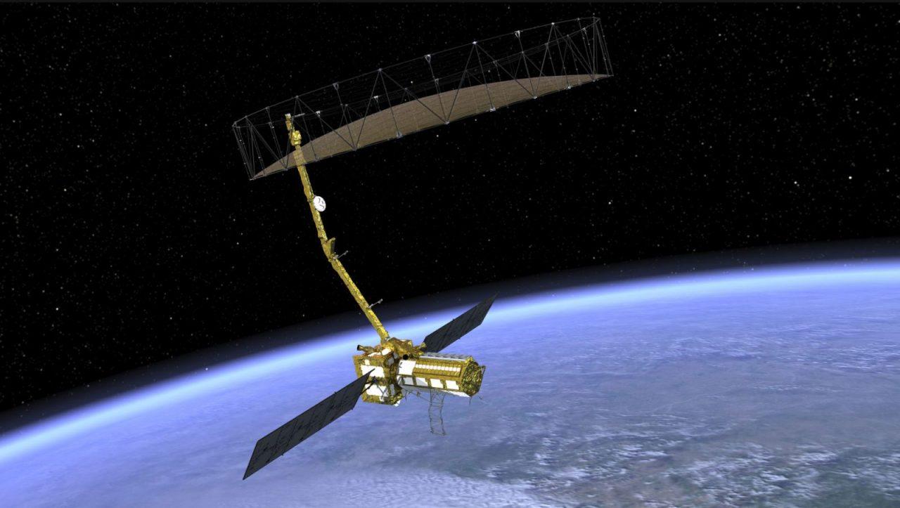 Artist's depiction of NISAR satellite in orbit. Image Credit: NASA
