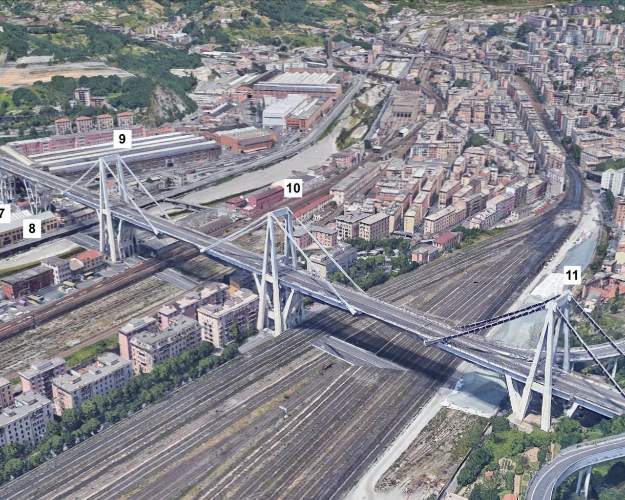 A satellite view of the Morandi Bridge in Genoa, Italy, prior to its August 2018 collapse. The numbers identify key bridge components. Numbers 4 through 8 correspond to the bridge's V-shaped piers (from West to East). Numbers 9 through 11 correspond to three independent balance systems on the bridge. In the annotated version, the black arrows identify areas of change based on data from the Cosmo-SkyMed satellite constellation. Image Credit: NASA/JPL-Caltech/Google