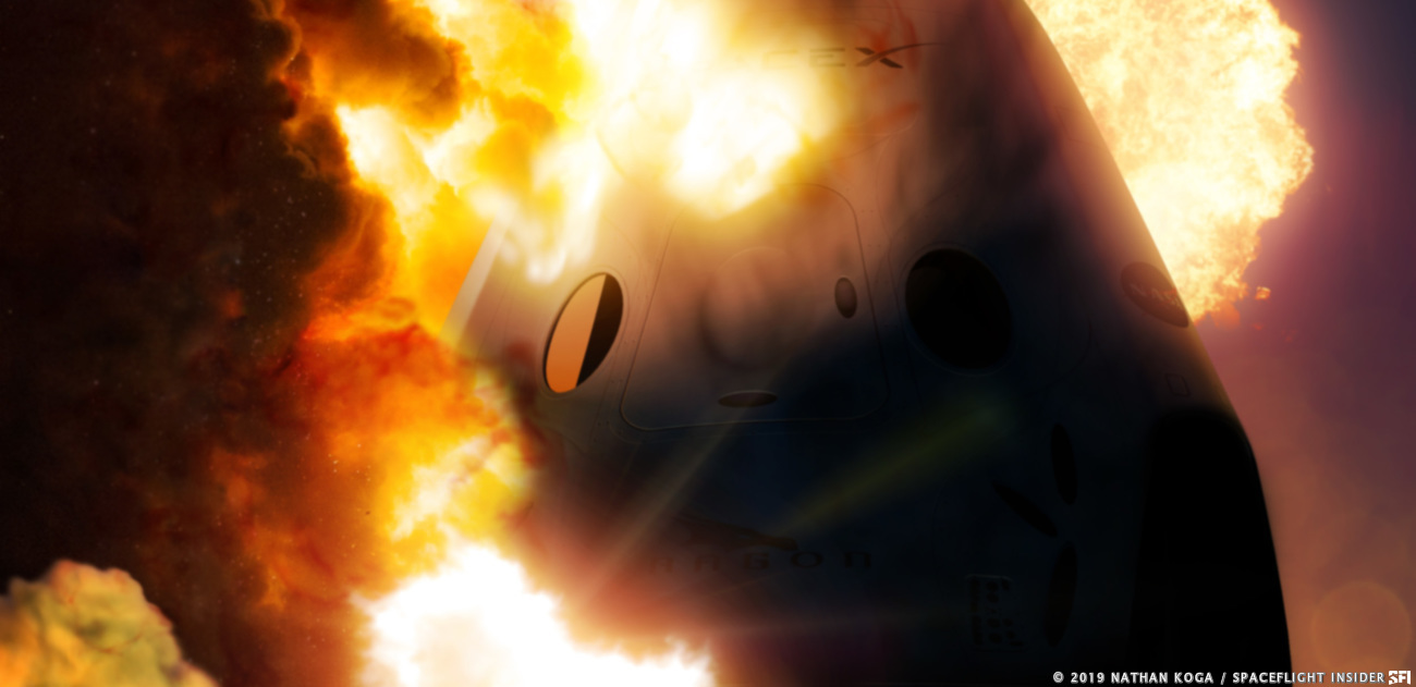 Artist's depiction of the April 20, 2019 explosion of SpaceX's Crew Dragon spacecraft. Image Credit: Nathan Koga / SpaceFlight Insider