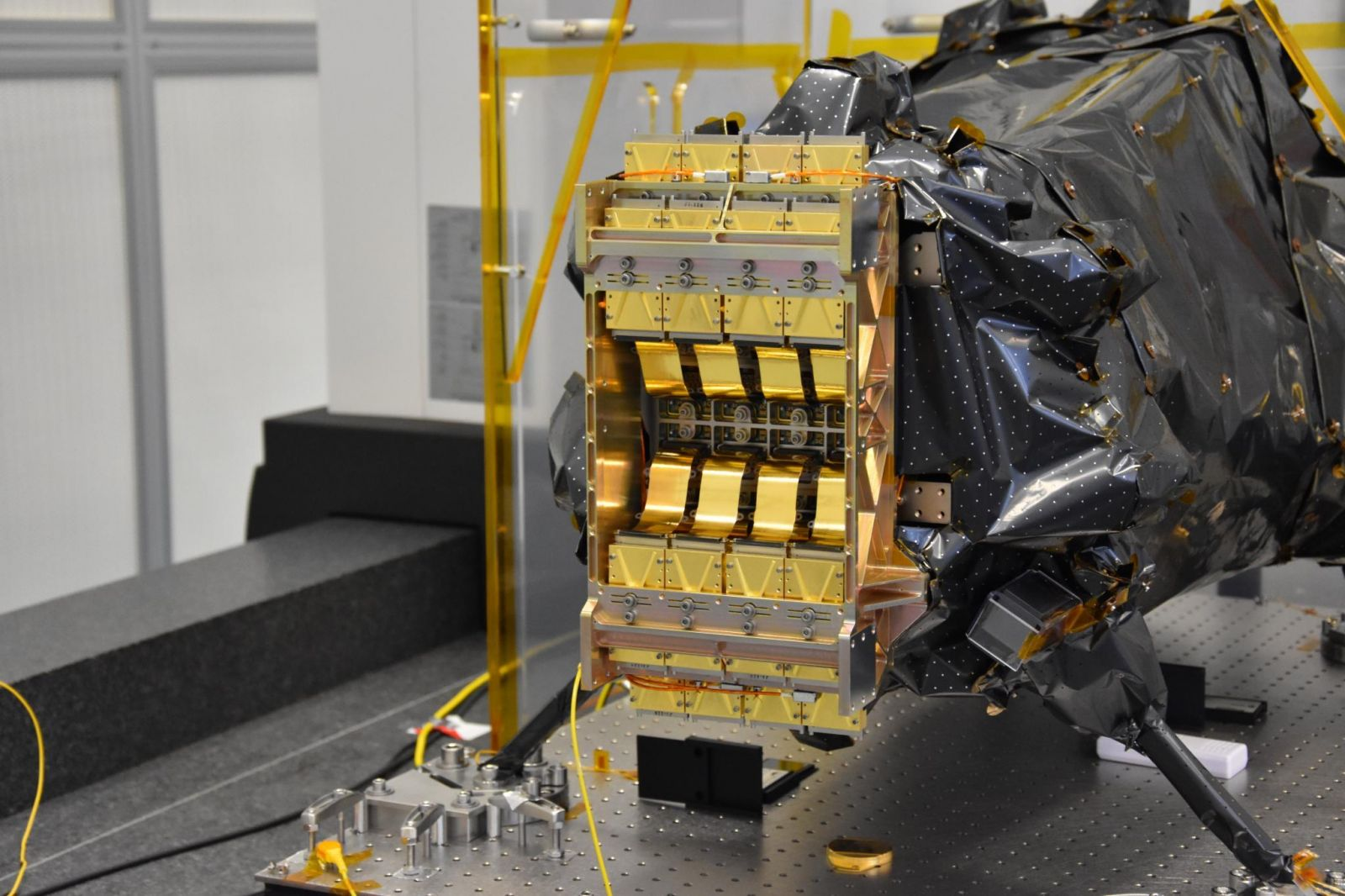 The cryogenic (cold) portion of the Euclid space telescope's Near Infrared Spectrometer and Photometer (NISP) instrument. NASA led the procurement and delivery of the detectors for the NISP instrument. The gold-coated hardware is the 16 sensor-chip electronics integrated with the infrared sensors. Photo Credit: Euclid Consortium/CPPM/LAM
