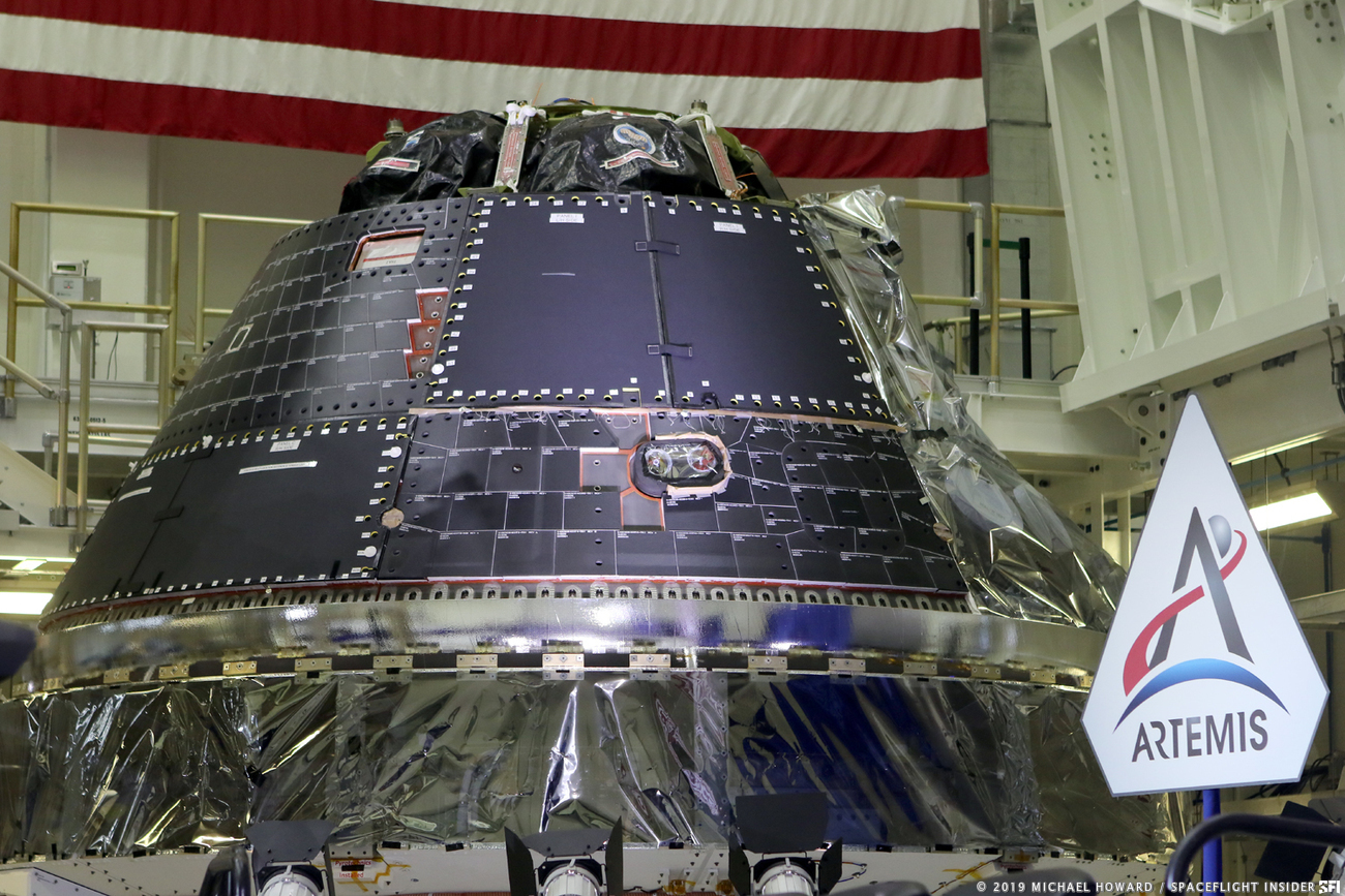 The Orion spacecraft that will be used on Artemis 1. Photo Credit: Mike Howard / SpaceFlight Insider