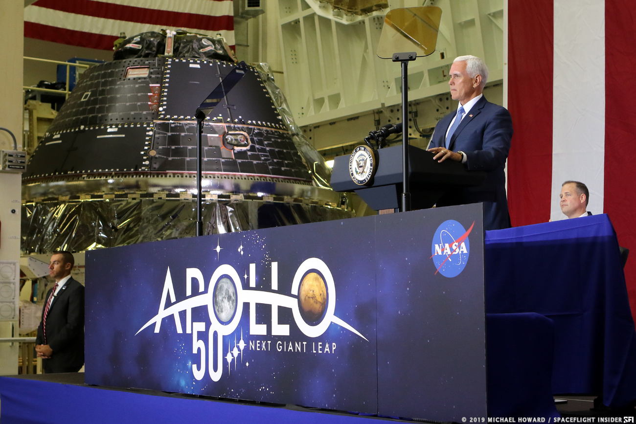 Vice President Pence commemorated the 50th anniversary of the Apollo 11 Moon landing with a visit to Kennedy Space Center in Florida. During his remarks he noted how the agency had be re-directed to return to the Moon via the newly-announced Artemis Program. Photo Credit: Mike Howard / SpaceFlight Insider