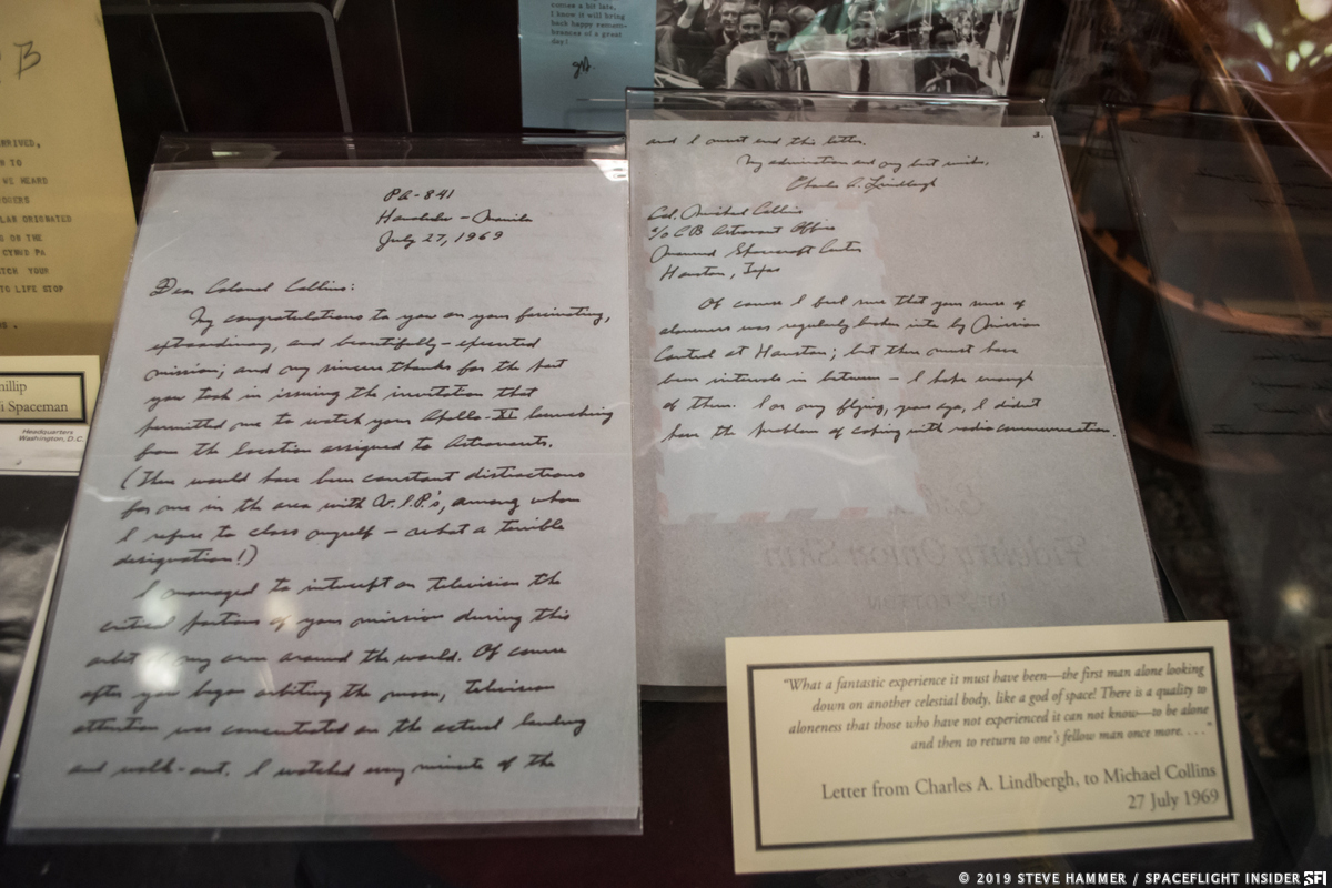 Congratulatory letter to Michael Collins from Charles Lindbergh after the successful completion of the Apollo 11 mission. Photo Credit: Steve Hammer / SpaceFlight Insider