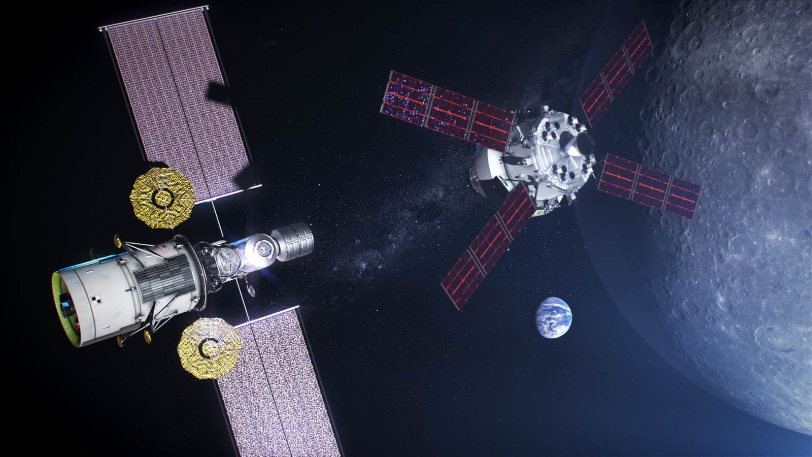"A concept for NASA's ""phase one"" Lunar Gateway, which includes a power and propulsion element and a minimal habitation module. A lunar lander and resupply module are attached to the cislunar outpost in this rendering with an Orion spacecraft inbound for docking. Image Credit: NASA"