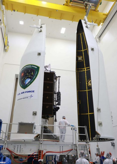 The GPS III satellite being encapsulated before launch. Photo Credit: ULA
