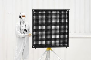 A target board with numerous dots was one of the methods used to test the rover's cameras. Photo Credit: JPL / NASA