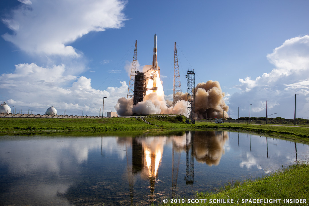 The 29th and final Delta IV Medium rocket lofts the second GPS III satellite into space for the United States Air Force. Photo Credit: Scott Schilke / SpaceFlight Insider