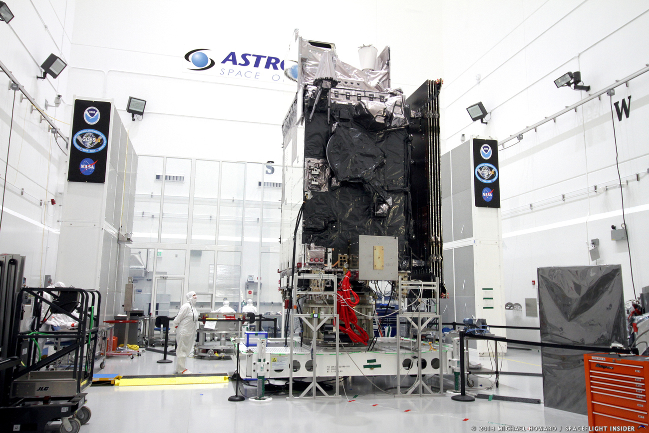 The GOES S satellite in the cleanroom at the Astrotech facilities located in Titusville, Florida. Photo Credit: Mike Howard / SpaceFlight Insider