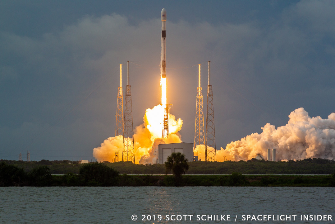 A SpaceX Falcon 9 rocket launches at 7:23 p.m. EDT (23:23 UTC) with the AMOS-17 telecommunications satellite. Photo Credit: Scott Schilke / SpaceFlight Insider