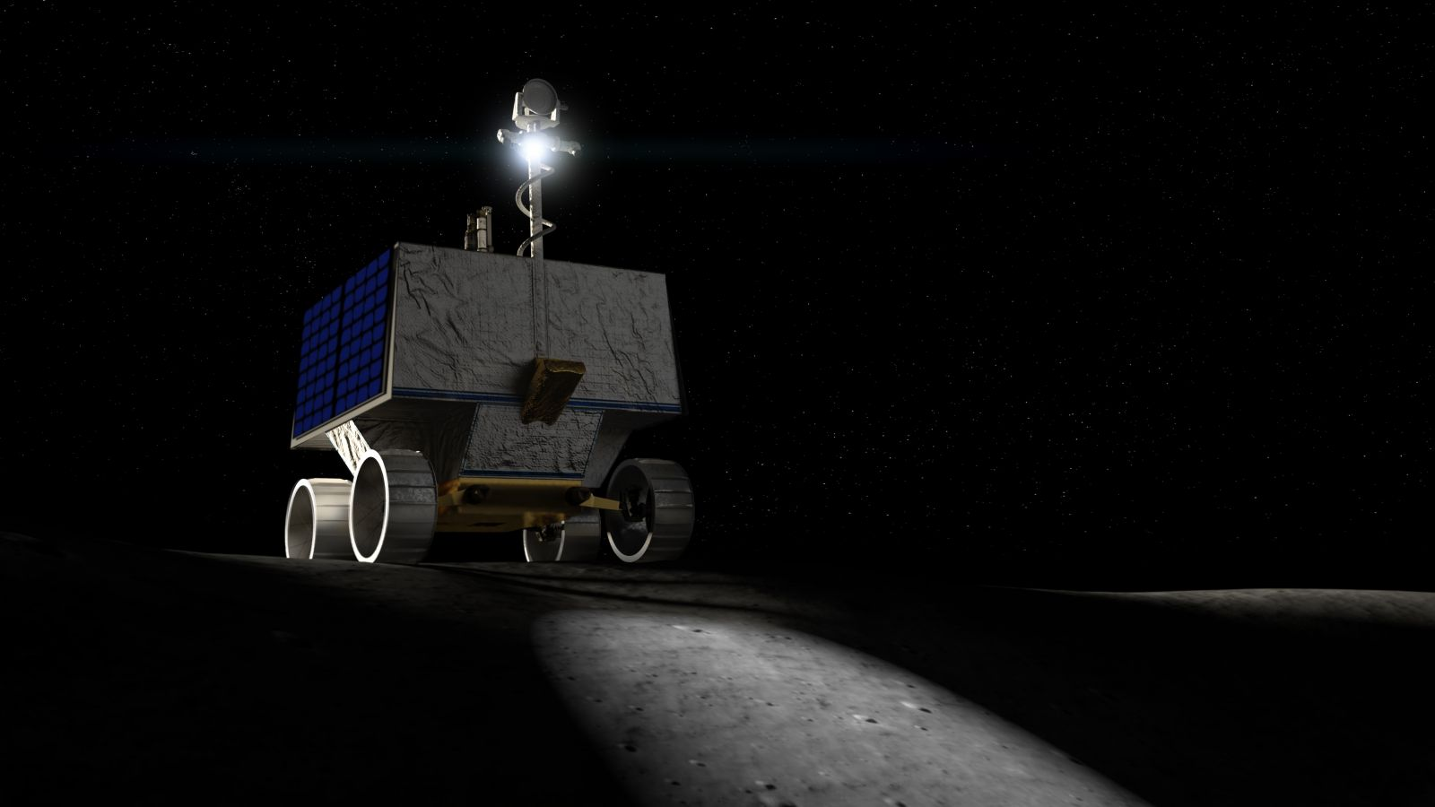 Artist's depiction of NASA's Volatiles Investigating Polar Exploration Rover (VIPER). Image Credit: NASA