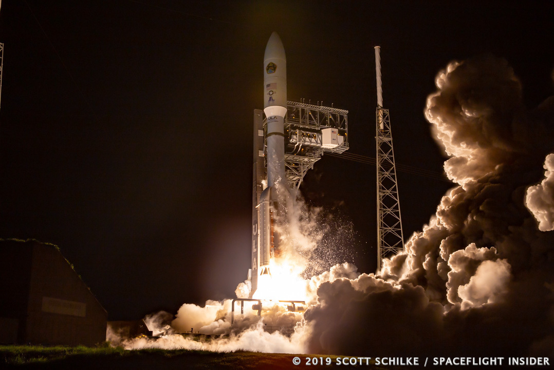A United Launch Alliance Atlas V 551 rocket with the United States Air Force Space Command's AEHF-5 satellite lifts off from Cape Canaveral Air Force Station's Space Launch Complex 41 in Florida. Photo Credit: Scott Schilke / SpaceFlight Insider