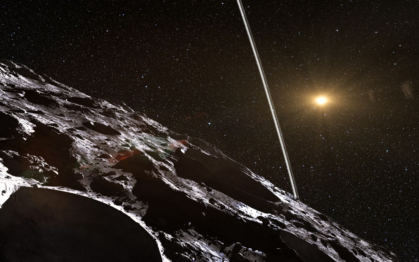 Artist's depiction of Chiron, the largest known centaur, surrounded by a ring. Image Credit: European Southern Observatory