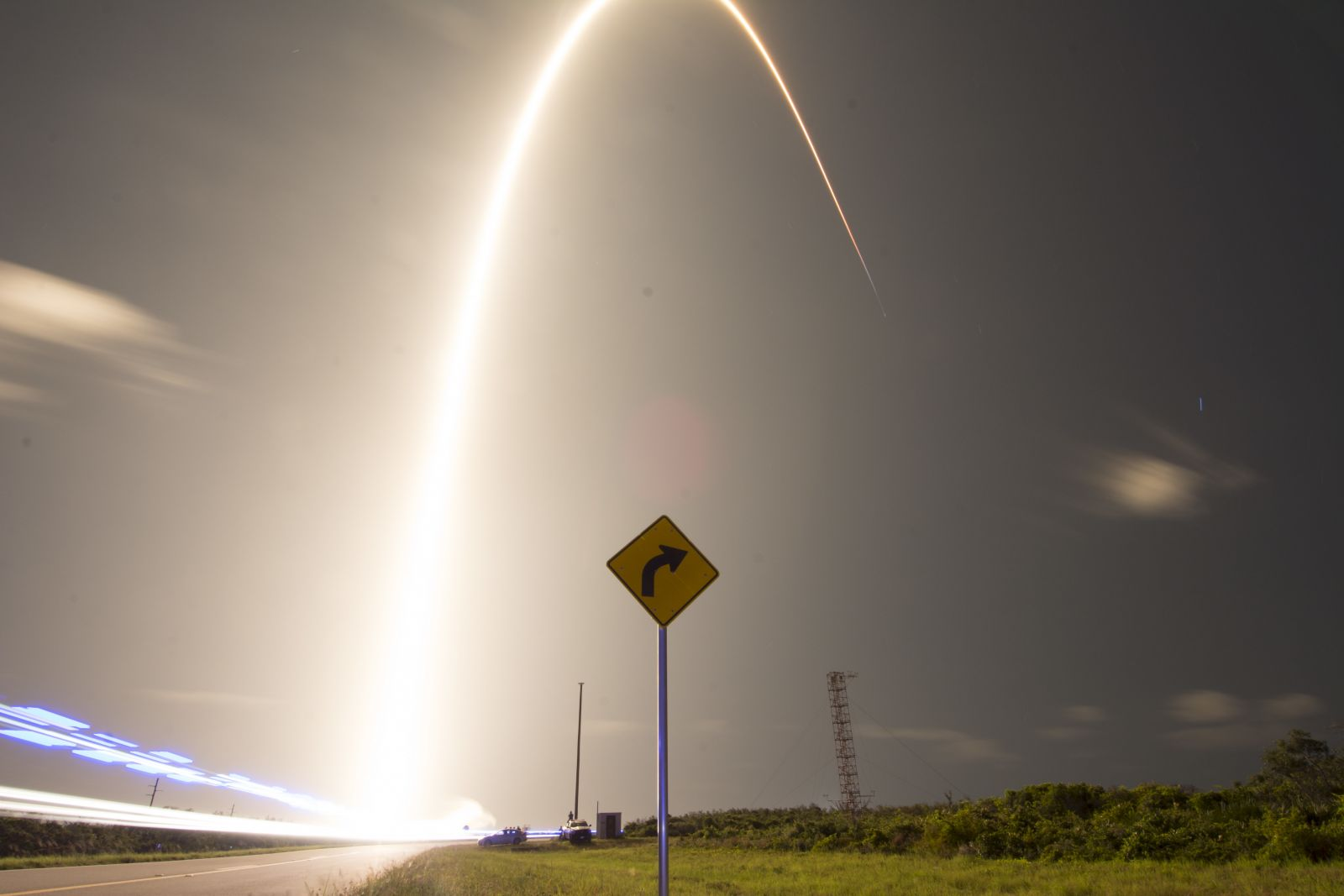 A SpaceX Falcon 9 rocket burns an arc across the skies of Florida. Photo Credit: SpaceX