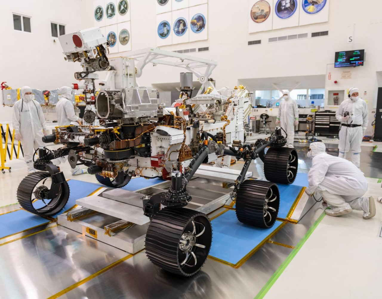In a clean room at NASA's Jet Propulsion Laboratory in Pasadena, California, engineers observed the first driving test for NASA's Mars 2020 rover on Dec. 17, 2019. Photo Credit: NASA/JPL-Caltech