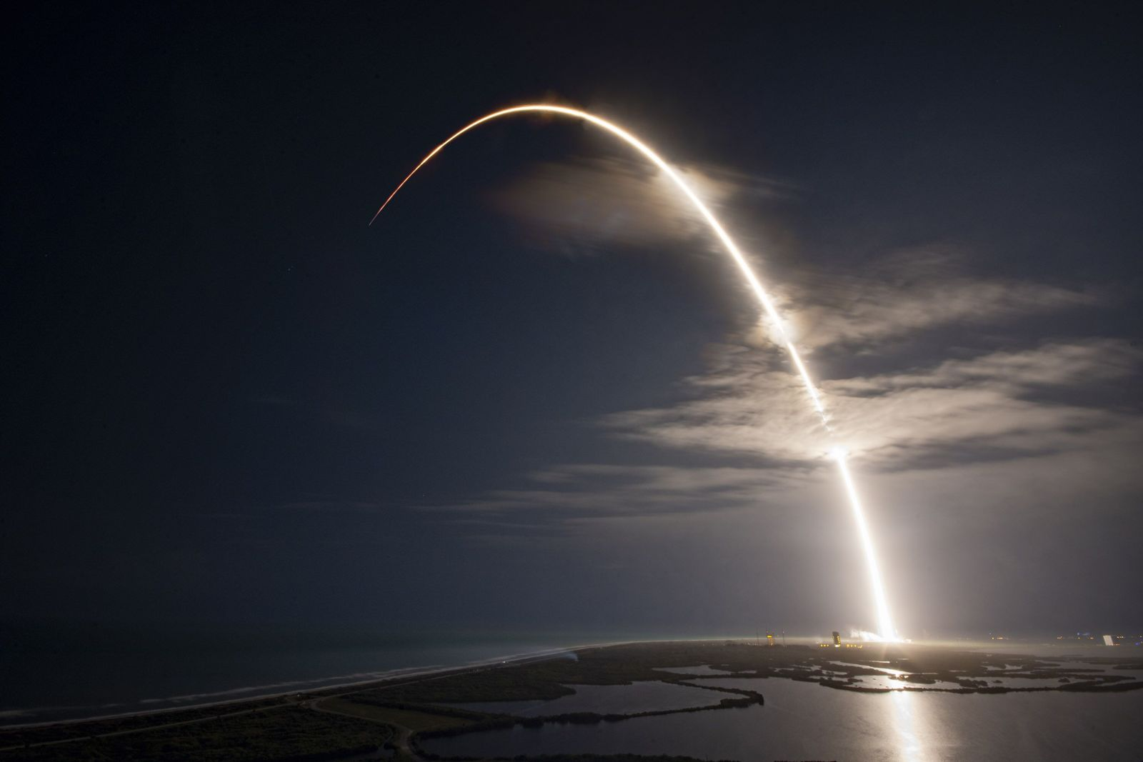 Streak shot of the Falcon 9 rocket on its way to orbit. Photo Credit: SpaceX