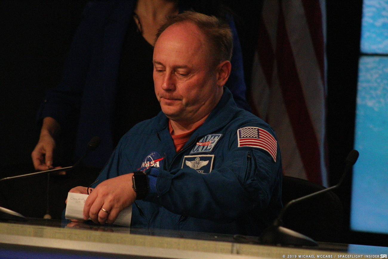 NASA astronaut Mike Fincke looks visibly disappointed during the 9:30 a.m. EST press conference held on Dec. 20. Photo Credit: Michael John McCabe / SpaceFlight Insider