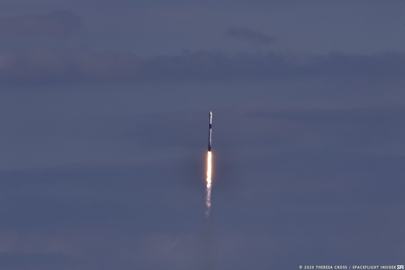 60 satellites launched atop a Falcon 9 rocket, the fourth batch for SpaceX's Starlink broadband network. Mission designated Starlink3. Booster 1051.3 completes its third mission and now has launched from all SpaceX pads. Image Credit: Theresa Cross / SpaceFlight Insider