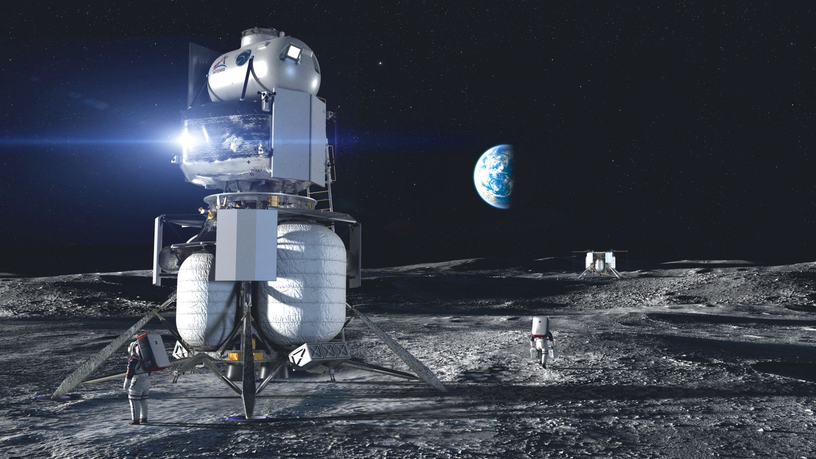 An artist's rendering of a lunar lander on the south pole of the Moon. NASA is currently exploring a number of solutions for navigating on the Moon's surface. Credit: NASA/Blue Origin