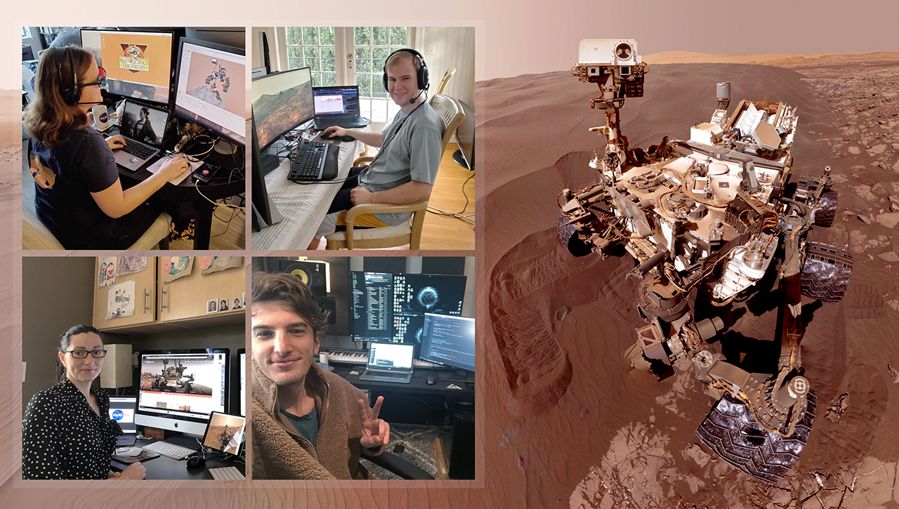 Members of NASA's Curiosity Mars rover mission team photographed themselves on March 20, 2020, the first day the entire mission team worked remotely from home. Image Credit: NASA/JPL-Caltech