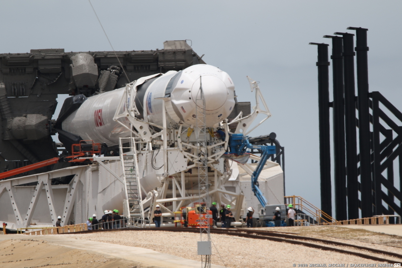 Crew Dragon Falcon 9 on launch pad 39-A