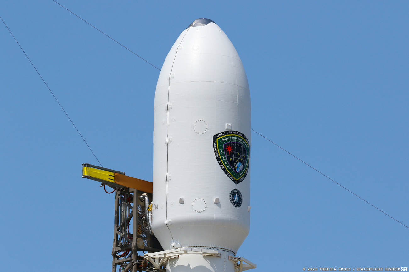 GPS-III SV03 payload fairing atop Falcon 9 B1060.1
