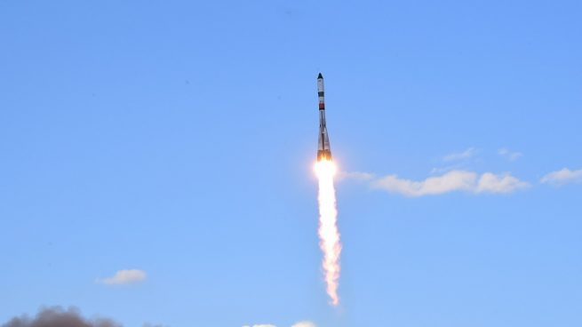 Progress MS-15 launches atop a Soyuz 2.1a rocket from Baikonur Cosmodrome in Kazakhstan. Photo Credit: Roscosmos