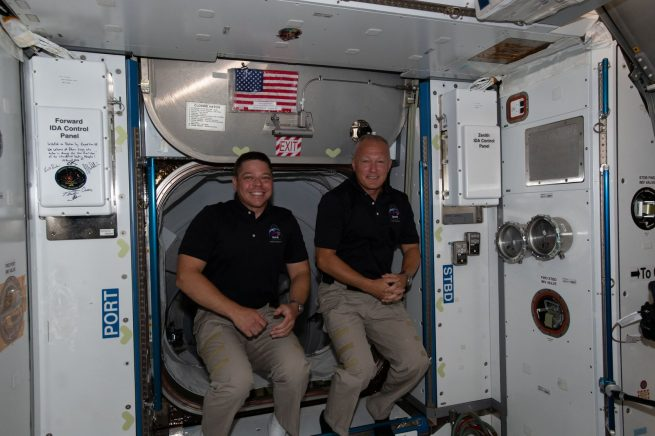 NASA astronauts Bob Behnken, left, and Doug Hurley shortly after they arrived aboard the ISS on May 31, 2020. Credit: NASA