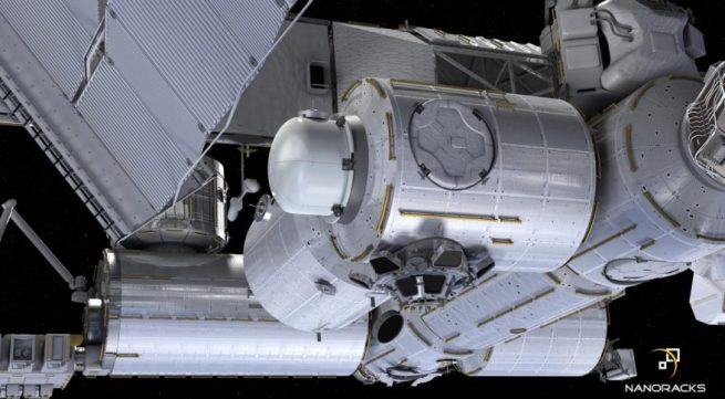 A rendering of the Bishop airlock on the port side of the Tranquility module. Credit: NanoRacks