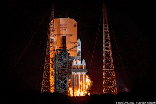 The ignition of a Delta IV Heavy, with a classified NRO satellite aboard, was auto-aborted at T-3 seconds during the August 29, 2020 launch attempt. Photo: Matt Haskell, SpaceFlight Insider