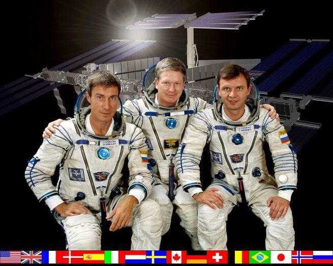 The Expedition 1 crew: Sergei Krikalev, left, Bill Shepherd, center, and Yuri Gidzenko. Credit: NASA