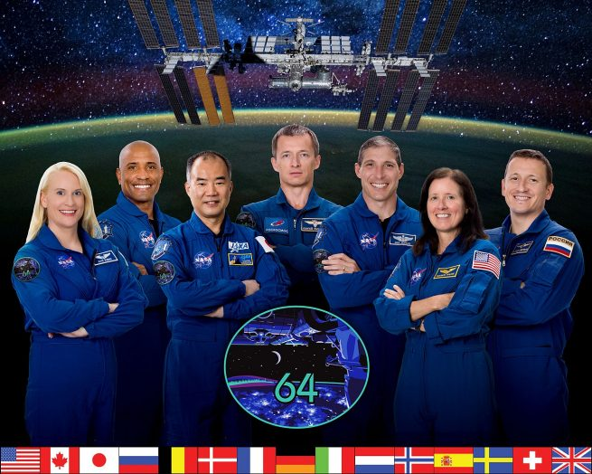 Expedition 64 official crew portrait. From left to right: Kate Rubins (NASA), Victor Glover (NASA), Soichi Noguchi (JAXA), Sergey Ryzhikov (Roscosmos), Michael Hopkins (NASA), Shannon Walker (NASA) and Sergey Kud-Sverchkov. Note: As of Nov. 2, Glover, Noguchi, Hopkins and Walker have yet to arrive at the outpost. They'll arrive via SpaceX's Crew-1 Dragon spacecraft later in November. Credit: NASA
