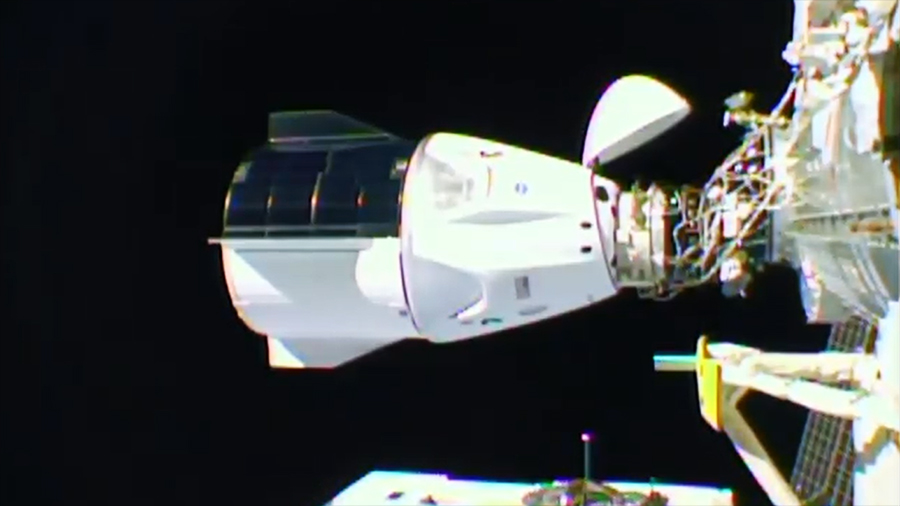 The Crew-1 Dragon seen docked to the International Space Station. Credit: NASA