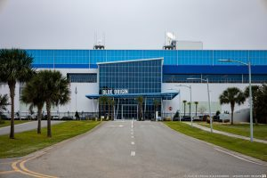 Blue Origin's production facility for the New Glenn Rocket sits just outside the gates of NASA's Kennedy Space Center in Florida. Credit: Nicholas D'Alessandro / Spaceflight Insider