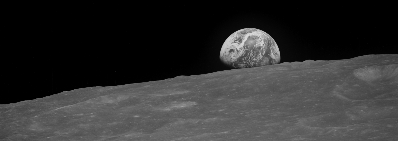 During Christmas Eve in 1968, the crew of Apollo 8 broadcast a live transmission to all who were following their journey from the distant blue marble of Earth. Image credit: NASA