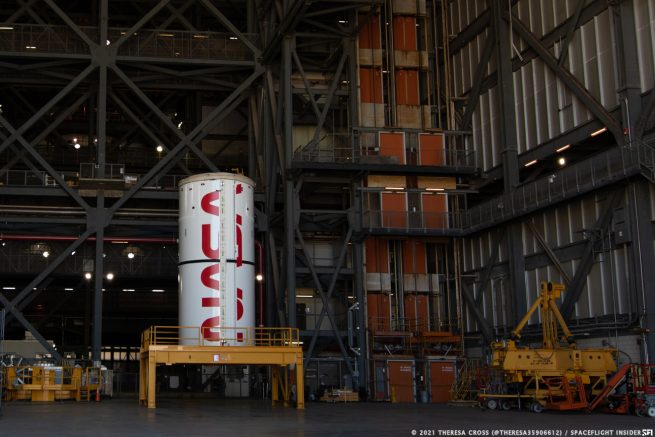 A view of one of the segments of the twin solid rocket boosters before being stacked. Credit: Theresa Cross / Spaceflight Insider