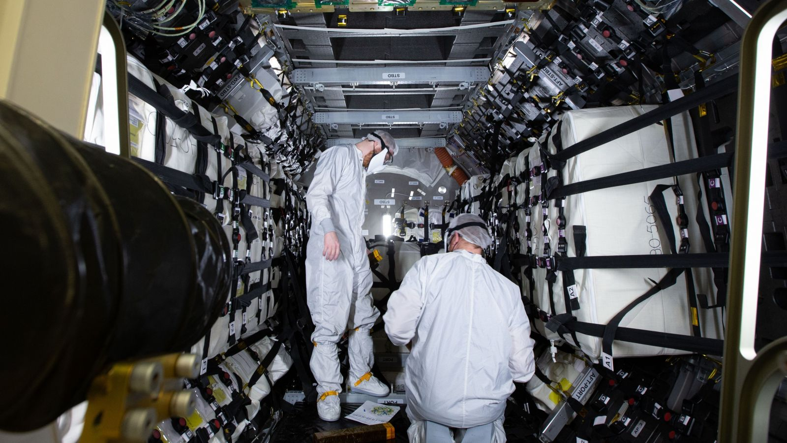 Cargo is placed in the Northrop Grumman NG-15 Cygnus spacecraft for delivery to the International Space Station. Credit: NASA