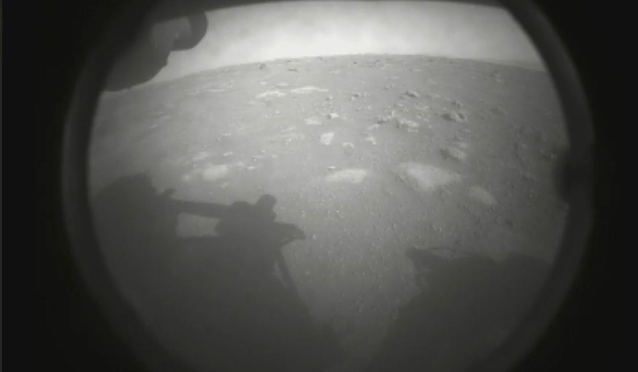 The first photo of the surface Jezero crater on Mars sent back by NASA's Perseverance rover. Credit: NASA