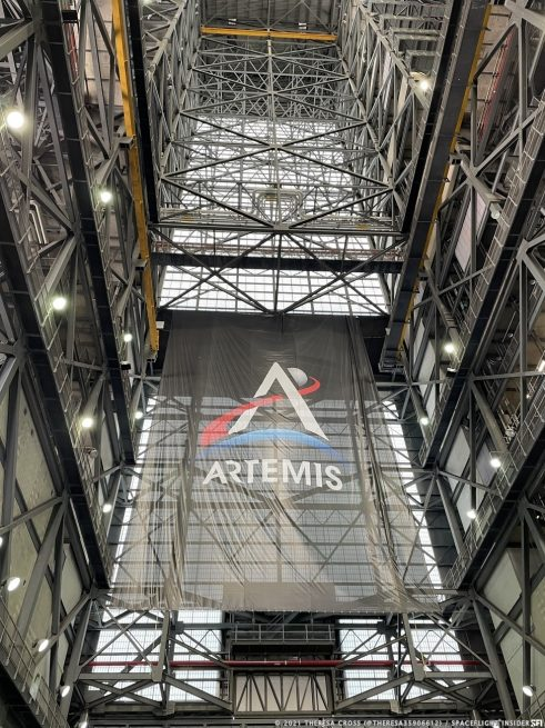 The SLS rocket is the backbone of NASA's Artemis program and is being assembled in the huge vehicle assembly building. Image Credit: Theresa Cross / Spaceflight Insider