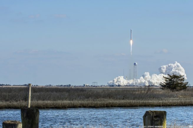 The NG-15 Cygnus spacecraft with various experiments, including Spaceborne Computer-2, lifts off Feb. 20, 2021, atop an Antares rocket from Wallops Island, Virginia. Credit: Steve Hammer / Spaceflight Insider