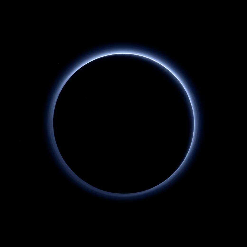 Pluto's blue atmospheric haze. Image Credit: NASA/JHUAPL/SwRI