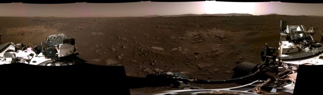 The first panorama of the Perseverance rover landing site. Credit: NASA